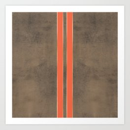 Vintage Hipster Retro Design - Brown Leather with Gold and Orange Stripes Art Print