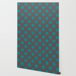 Large Polka Dots in Teal on Charcoal Gray Wallpaper