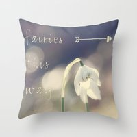 fairies Throw Pillows featuring Fairies this way by UtArt