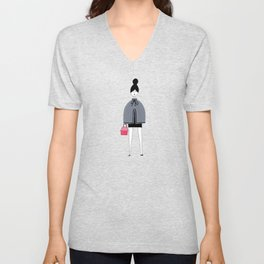 Girl in grey cape Unisex V-Neck