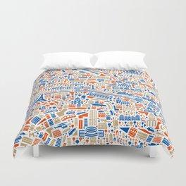 Paris City Map Poster Duvet Cover