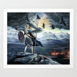 Valkyrie and Crows Art Print