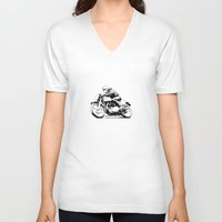 motorcycle V-neck T-shirts featuring Vintage Motorcycle by Rik Reimert
