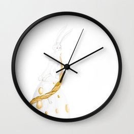 bunny and golden eggs Wall Clock