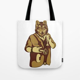 Sophisticated Wolf - having a drink Tote Bag