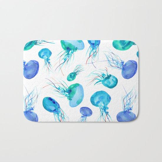 Jellyfish || watercolor Bath Mat