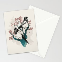 Magpies on Oak Stationery Cards
