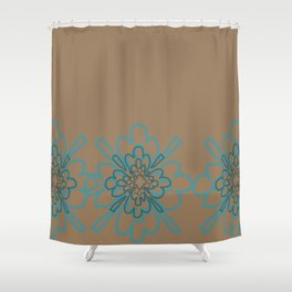 Tan and Teal Patten Shower Curtain