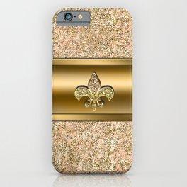 Pink & Gold Glitter Fleur De Lis iPhone Case