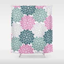 Petal in Rose, Cyan and Milky Grey Shower Curtain