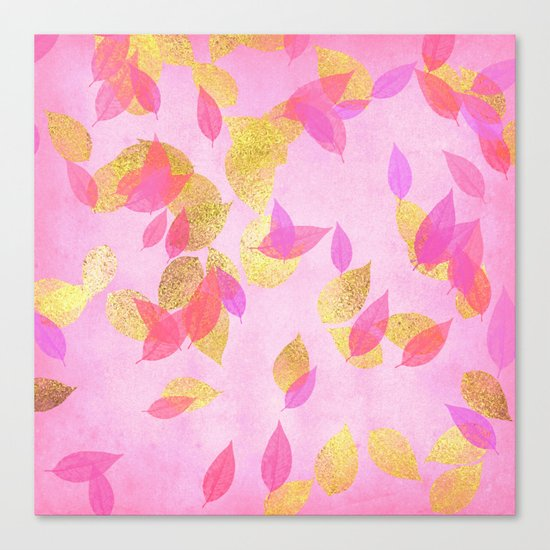 Autumn-world 5 - gold glitter leaves on pink background on #Society6 Canvas Print