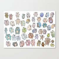bears Canvas Prints featuring Bears by Hannah Drossman