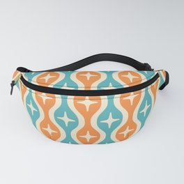 Mid century Modern Bulbous Star Pattern Orange and Turquoise Fanny Pack