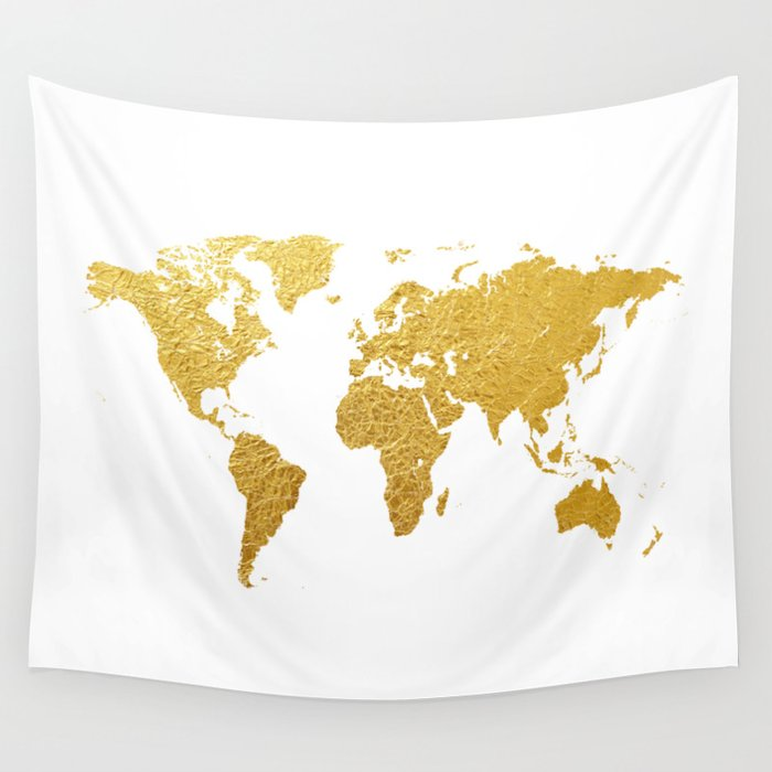 World map gold foil wall tapestry by artpause society6 world map gold foil wall tapestry gumiabroncs Images