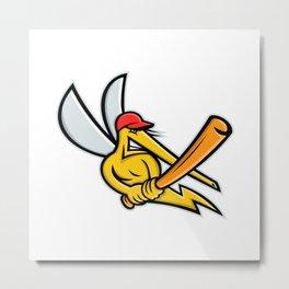 Mosquito Baseball Mascot Metal Print