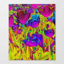 Neon Tulips Canvas Print