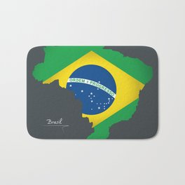 Brazil map special artwork style with flag illustration Bath Mat