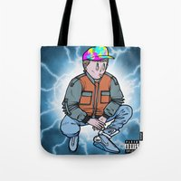 mcfly Tote Bags featuring HEAVY McFLY by Michael Shantz