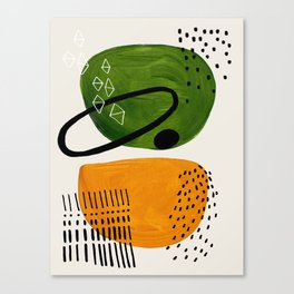 Mid Century Modern Abstract Colorful Art Patterns Olive Green Yellow Ochre Orbit Geometric Objects Canvas Print