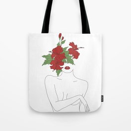Minimal Line Art Woman with Hibiscus Tote Bag