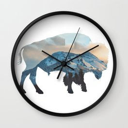 Bison Mountain Wall Clock