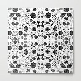 Black Mexican Flowers Metal Print