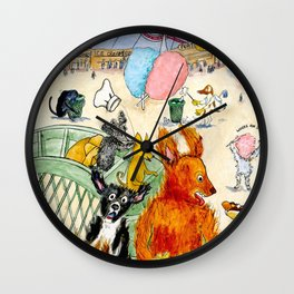 The Dogs Take Over Coney Island Wall Clock