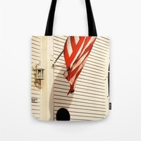 american flag Tote Bags featuring American Flag by Agent Cake