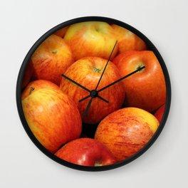 lots of red apples, vegan parties, vegan food Wall Clock