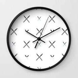 Crisscross Matches Blue Wall Clock