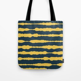 Macrame Stripes in Mustard Yellow and Navy Blue Tote Bag