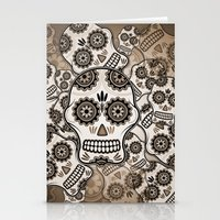 sugar skulls Stationery Cards featuring Sugar skulls by nicky2342