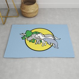 Horned Warrior Friends (unicorn, narwhal, triceratops, rhino) Rug