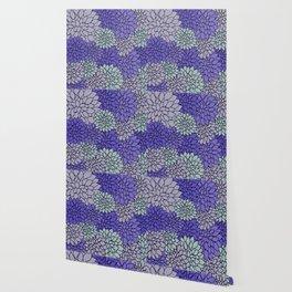 Periwinkle Gray Dahlias Wallpaper
