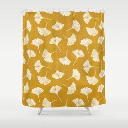 Ginkgo Biloba | Yellow Background Shower Curtain