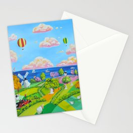 Folk art painting cow and sheep Stationery Cards