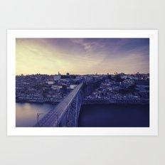 Porto across the bridge. Art Print
