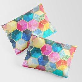 Crystal Bohemian Honeycomb Cubes - colorful hexagon pattern Pillow Sham