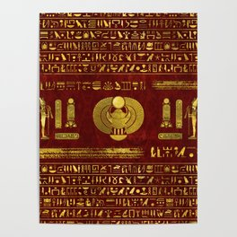 Golden Egyptian Scarab on red leather Poster