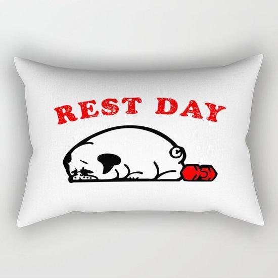 Rest Day Pug Rectangular Pillow