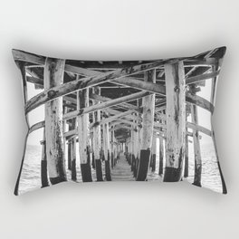 Balboa Pier Print {3 of 3} | Newport Beach Ocean Photography B&W Summer Sun Wave Art Rectangular Pillow