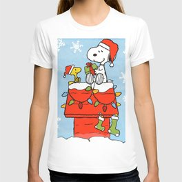 snoopy and woodstock christmas in home T-shirt