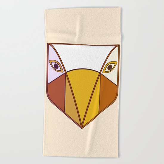 Bird tribal mask Beach Towel