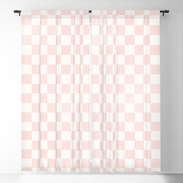 Pink Coral Checkers Blackout Curtain