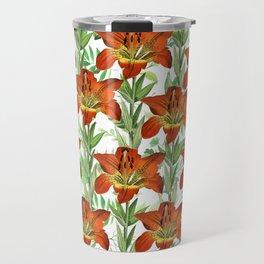 Vintage orange yellow green lily floral pattern Travel Mug