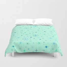 Atomic Starry Night in Mod Mint Duvet Cover