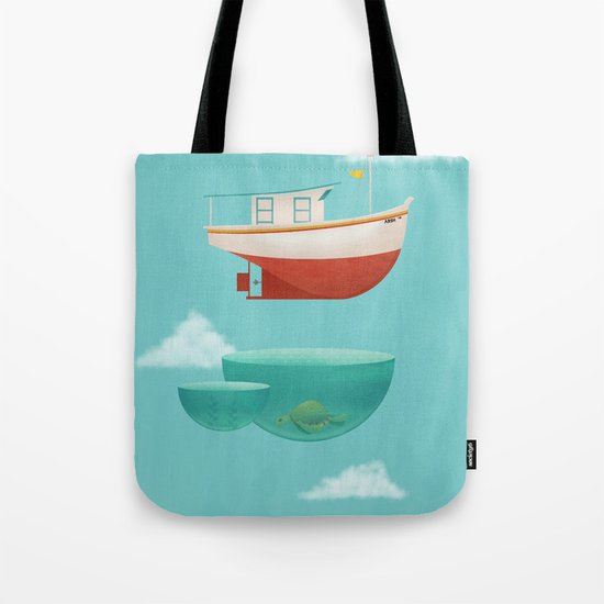 Floating Boat Tote Bag