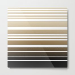 Bay Ombre Stripe: Neutral Metal Print