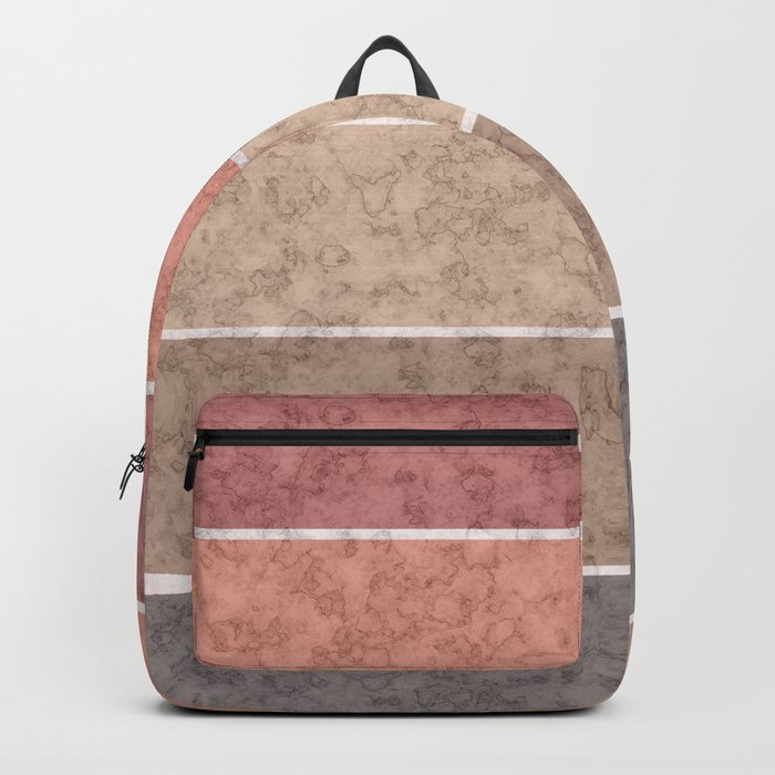 Pink and gray marble striped pattern . Backpack