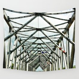 Geometric bridge structure Wall Tapestry